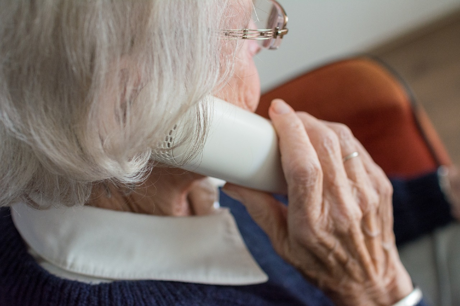 Older woman talking on phone