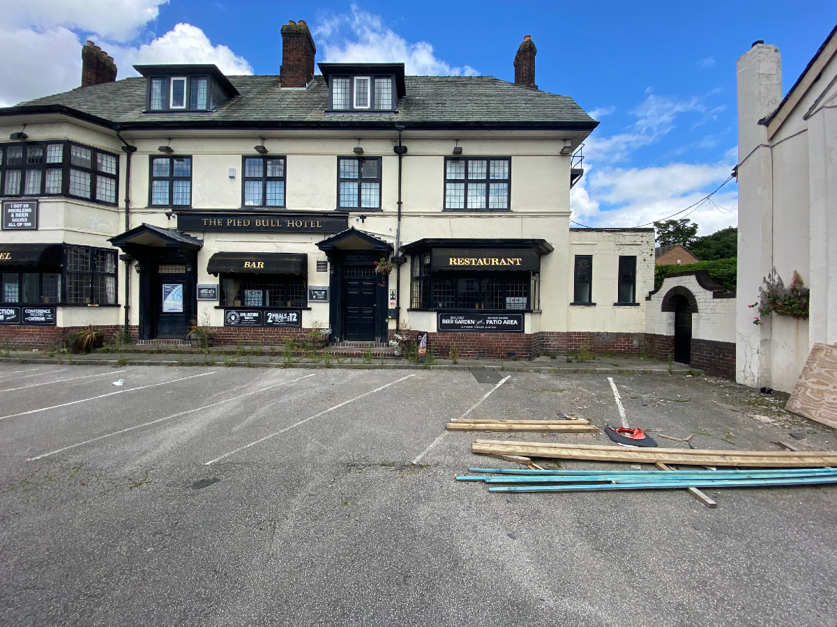 The Pied Bull pub in Newton-le-Willows is fenced off whilst a major renovation takes place